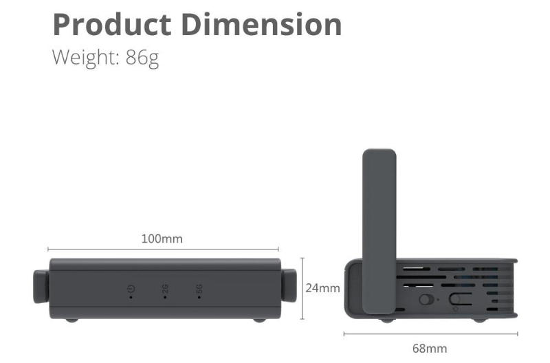 GL.iNet GL-AR750S-Ext (SLATE) - Product Dimensions