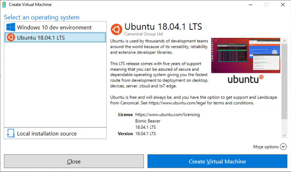 "Choose your desired OS and click ""Create Virtual Machine"" (image source: blogs.windows.com)"