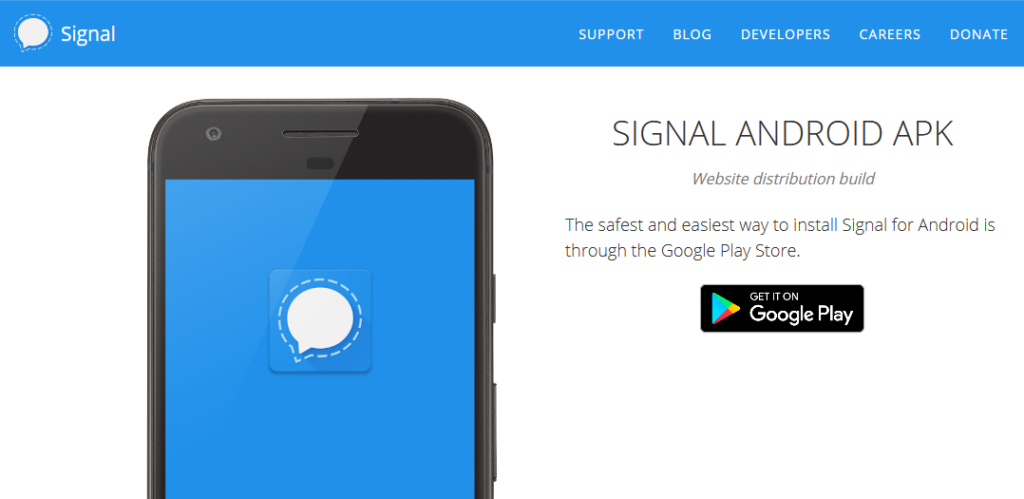 Screenshot of the Signal website providing the APK