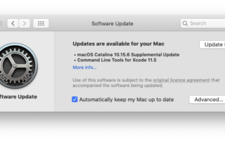 macOS Catalina Software Updater with found updates