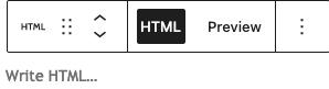 WordPress Gutenberg editor, custom HTML