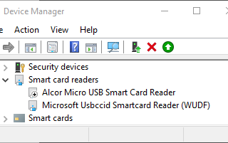 Device Manager showing smart card readers