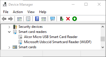 "Device Manager showing ""Smart card readers"""