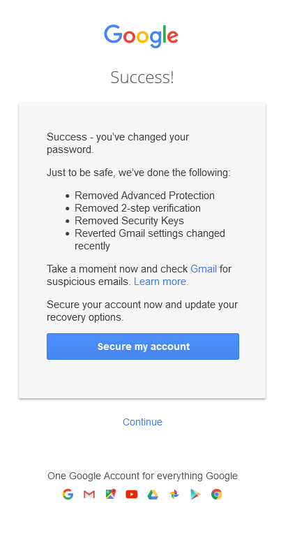 Google Advanced Protection reset