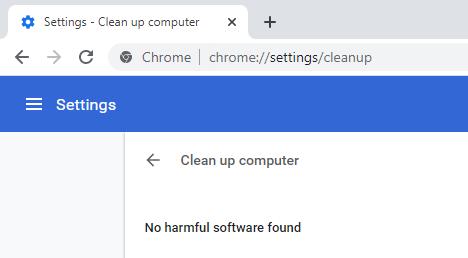 Chrome found nothing