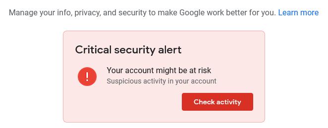 Critical security alert