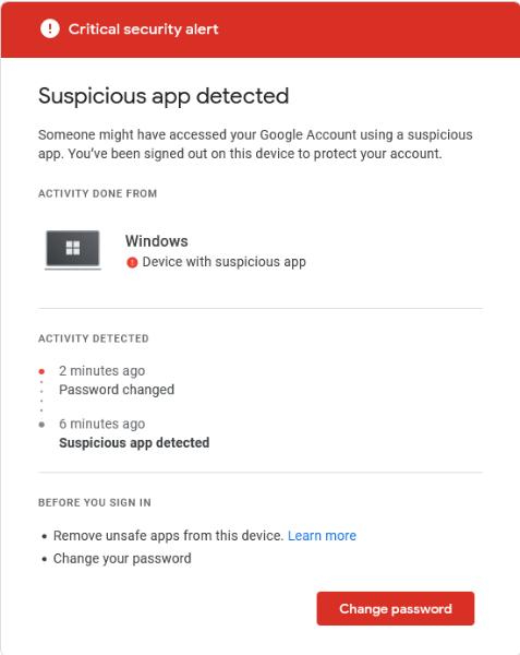 Suspicious app detected